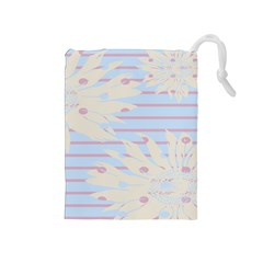 Flower Floral Sunflower Line Horizontal Pink White Blue Drawstring Pouches (medium)  by Mariart