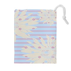 Flower Floral Sunflower Line Horizontal Pink White Blue Drawstring Pouches (extra Large) by Mariart