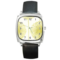 Flower Floral Yellow Square Metal Watch by Mariart