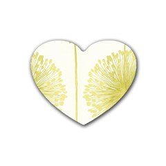 Flower Floral Yellow Heart Coaster (4 Pack)  by Mariart