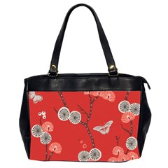 Dandelions Red Butterfly Flower Floral Office Handbags (2 Sides)  by Mariart