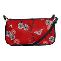 Dandelions Red Butterfly Flower Floral Shoulder Clutch Bags by Mariart