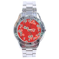 Dandelions Red Butterfly Flower Floral Stainless Steel Analogue Watch by Mariart