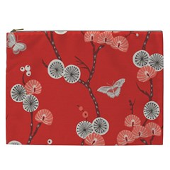Dandelions Red Butterfly Flower Floral Cosmetic Bag (xxl)  by Mariart