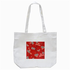 Dandelions Red Butterfly Flower Floral Tote Bag (white) by Mariart