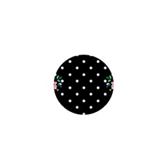 Flower Frame Floral Polkadot White Black 1  Mini Buttons by Mariart