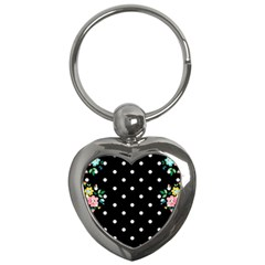Flower Frame Floral Polkadot White Black Key Chains (heart)  by Mariart