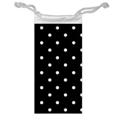 Flower Frame Floral Polkadot White Black Jewelry Bag by Mariart