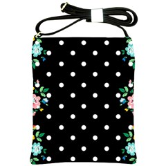Flower Frame Floral Polkadot White Black Shoulder Sling Bags by Mariart