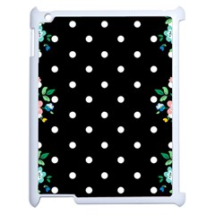 Flower Frame Floral Polkadot White Black Apple Ipad 2 Case (white) by Mariart