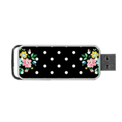 Flower Frame Floral Polkadot White Black Portable Usb Flash (one Side) by Mariart