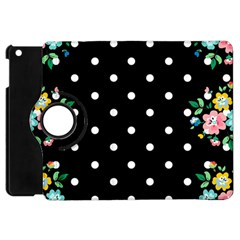 Flower Frame Floral Polkadot White Black Apple Ipad Mini Flip 360 Case by Mariart
