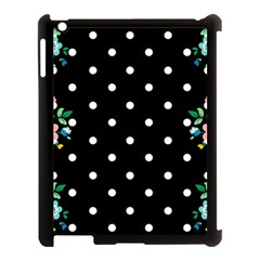 Flower Frame Floral Polkadot White Black Apple Ipad 3/4 Case (black) by Mariart