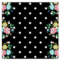 Flower Frame Floral Polkadot White Black Large Satin Scarf (square) by Mariart