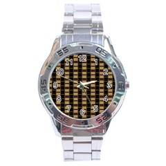 Geometric Shapes Plaid Line Stainless Steel Analogue Watch by Mariart