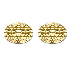 Geometric Seamless Aztec Gold Cufflinks (oval) by Mariart