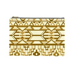 Geometric Seamless Aztec Gold Cosmetic Bag (large)  by Mariart