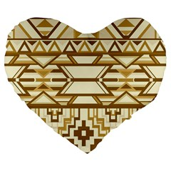 Geometric Seamless Aztec Gold Large 19  Premium Heart Shape Cushions by Mariart