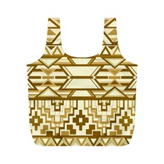 Geometric Seamless Aztec Gold Full Print Recycle Bags (m)  by Mariart