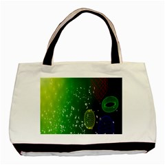 Geometric Shapes Letters Cubes Green Blue Basic Tote Bag by Mariart