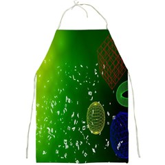 Geometric Shapes Letters Cubes Green Blue Full Print Aprons by Mariart
