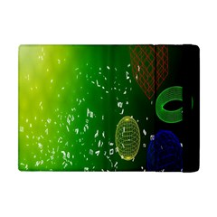 Geometric Shapes Letters Cubes Green Blue Apple iPad Mini Flip Case by Mariart