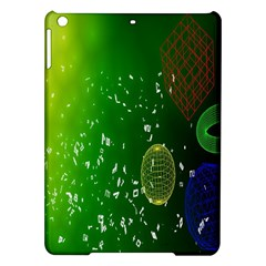 Geometric Shapes Letters Cubes Green Blue iPad Air Hardshell Cases by Mariart