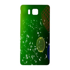 Geometric Shapes Letters Cubes Green Blue Samsung Galaxy Alpha Hardshell Back Case by Mariart