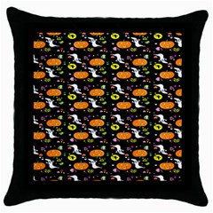 Ghost Pumkin Craft Halloween Hearts Throw Pillow Case (black) by Mariart