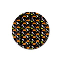 Ghost Pumkin Craft Halloween Hearts Rubber Round Coaster (4 Pack)  by Mariart