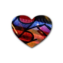 Graphic Shapes Experimental Rainbow Color Rubber Coaster (heart)  by Mariart