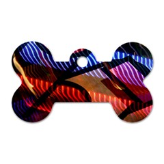 Graphic Shapes Experimental Rainbow Color Dog Tag Bone (two Sides) by Mariart