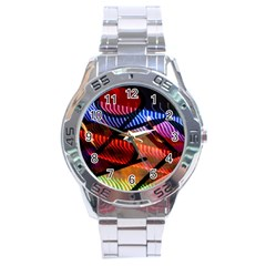 Graphic Shapes Experimental Rainbow Color Stainless Steel Analogue Watch by Mariart