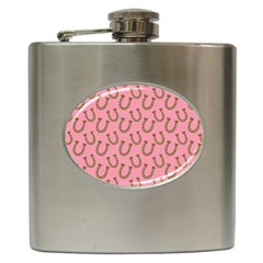 Horse Shoes Iron Pink Brown Hip Flask (6 Oz) by Mariart
