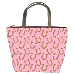 Horse Shoes Iron Pink Brown Bucket Bags by Mariart