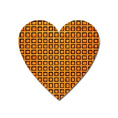 Halloween Squares Plaid Orange Heart Magnet by Mariart