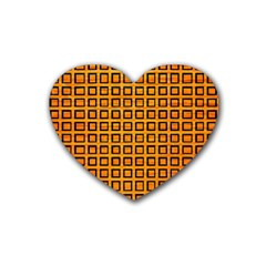 Halloween Squares Plaid Orange Rubber Coaster (heart)  by Mariart