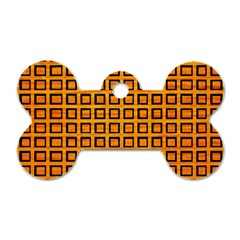 Halloween Squares Plaid Orange Dog Tag Bone (two Sides) by Mariart