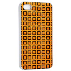 Halloween Squares Plaid Orange Apple Iphone 4/4s Seamless Case (white) by Mariart