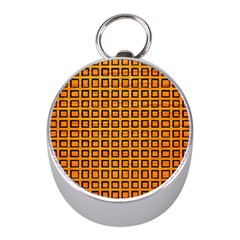 Halloween Squares Plaid Orange Mini Silver Compasses by Mariart
