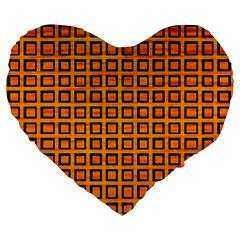 Halloween Squares Plaid Orange Large 19  Premium Flano Heart Shape Cushions by Mariart