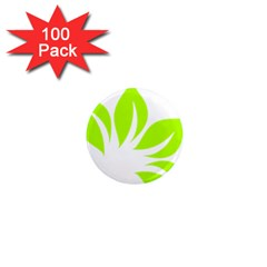 Leaf Green White 1  Mini Magnets (100 Pack)  by Mariart