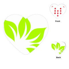 Leaf Green White Playing Cards (heart)  by Mariart