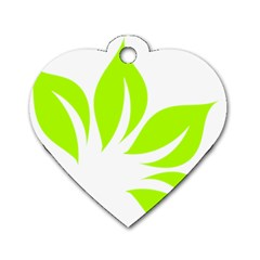 Leaf Green White Dog Tag Heart (one Side) by Mariart