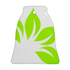 Leaf Green White Ornament (bell) by Mariart