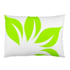 Leaf Green White Pillow Case (two Sides) by Mariart