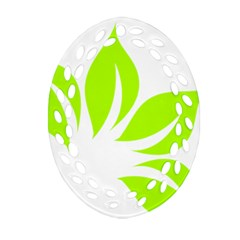 Leaf Green White Oval Filigree Ornament (two Sides) by Mariart