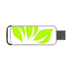 Leaf Green White Portable Usb Flash (one Side) by Mariart