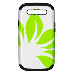 Leaf Green White Samsung Galaxy S Iii Hardshell Case (pc+silicone) by Mariart