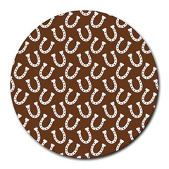 Horse Shoes Iron White Brown Round Mousepads by Mariart